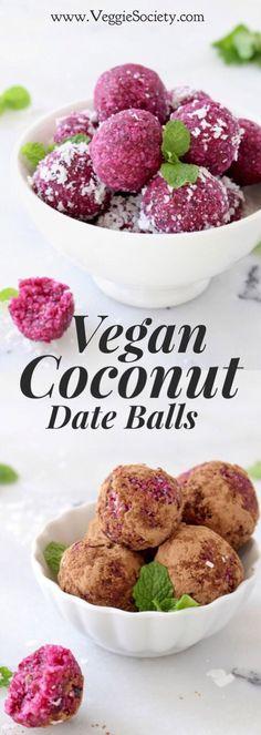 Vegan Coconut Date Balls Recipe Best Vegan Recipes, Healthy Dessert Recipes, Healthy Baking, Raw Food Recipes, Snack Recipes, Healthy Eats, Vegetarian Recipes, Appetizer Recipes, Sweet Recipes