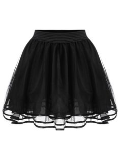 Shop Elastic Waist Mesh Flare Skirt at ROMWE, discover more fashion styles online. Black Circle Skirts, Black Flare Skirt, Midi Flare Skirt, Flared Skirt, Hot Outfits, Edgy Outfits, Fashion Outfits, Pantalon Long, Simple Gowns