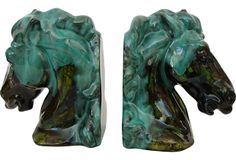 Vintage Horse Bookends, Pair