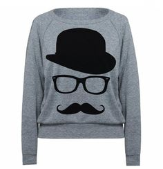Womens MUSTACHE Sweatshirt Hat Wayfarer Tri-Blend Raglan Pullover Sweater  - American Apparel - S M and L (8 Color Options) on Etsy, $28.00