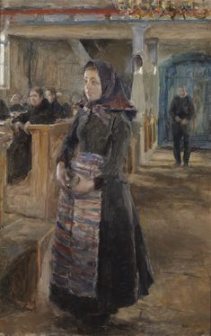 Girl in the Old Church of Keuruu by Akseli Gallen-Kallela, 1889 Contemporary Artists, Modern Art, Losing My Religion, Merian, Life Paint, Piet Mondrian, Hippie Art, Scandinavian Modern, Great Artists