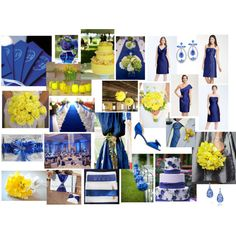 Sapphire & Yellow Wedding, created by highglosswed on Polyvore