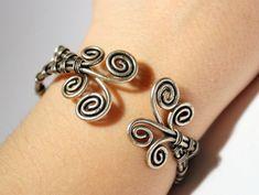 Silver cuff bracelets for women, Statement bracelet, Silver cuff, Silver bracelet, Boho bracelet, Silver Jewelry, Wire wrapped bracelet by BeyhanAkman on Etsy