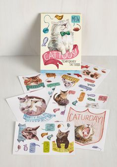 It's Meow or Never Temporary Tattoos. Some say a tattoo is a commitment and an investment, but with these cat-themed temporary tats on hand, youre the first one to say, Lets do it! #multi #modcloth