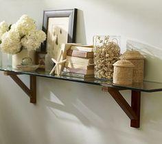 Markham Shelves #potterybarn; glass or wood shelf Kitchen