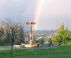 The totem pole at the end of the rainbow (West Seattle Blog).