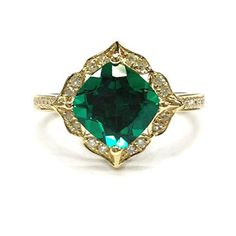 $499 Cushion Treated Emerald Engagement Ring Pave Diamond Wedding 14K Yellow Gold,8mm,Floral Unique