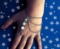 Stars Slave bracelet silver color chain ring by CrazyFoxDesign, €12.00