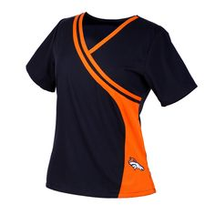 Denver Broncos Mock Wrap Scrub Top with Two Front Pockets Denver Broncos Womens, Denver Broncos Logo, Scrubs Outfit, Scrubs Uniform, Beauty Salon Uniform Ideas, Cute Nursing Scrubs, Scrubs Pattern, Chicago Bears News, Medical Uniforms