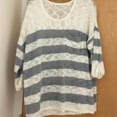 Maurices stripped sweater with pocket Size 1 from Maurices. Very cute sweater in perfect condition. Size one fits XL or XXL Maurices Sweaters Crew & Scoop Necks