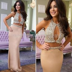 >> Click to Buy << Shinning Rhinestone Prom Dresses 2016 Girls Champagne Prom Dress Satin Crystals Sexy Prom Gowns Two Piece Dresses For Party RT23 #Affiliate