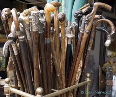 beautiful old canes and walking sticks