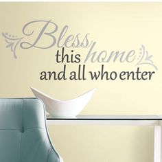 College Discover RoomMates 10 in. x 18 in. Bless this Home Peel and Stick Wall Decals - The Home Depot 10 in. x 18 in. Bless this Home Peel and Stick Wall - The Home Depot Do It Yourself Design, Always Kiss Me Goodnight, Bathroom Rules, Wall Decals For Bedroom, Love Wall, White Paneling, Living At Home, Living Room, Removable Wall