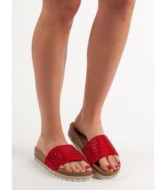 Červené šľapky s kryštálmi Espadrilles, Sandals, Shoes, Fashion, Espadrilles Outfit, Shoes Sandals, Zapatos, Moda, Shoes Outlet