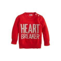 Cashmere baby sweater in heartbreaker