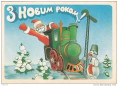Retro Santa waves from Christmas train  Source: Markovd