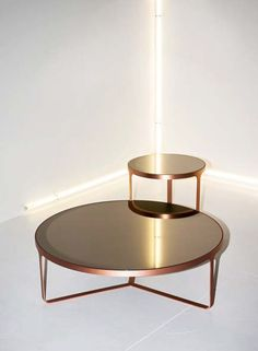 Low round glass coffee table CAGE   Glass coffee table by Tacchini