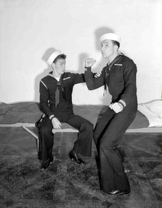 LOVE THIS MOVIE! Publicity still from Anchors Aweigh (1945), featuring Frank Sinatra and Gene Kelly.