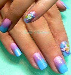 china glaze gradient  with 3D flowers