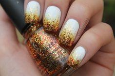 Copper glitter ombre over white nail, creative fall idea