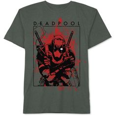 Jem Men's Deadpool T-Shirt ($24) ❤ liked on Polyvore featuring men's fashion, men's clothing, men's shirts, men's t-shirts, men, shirts, men shirts, tops, platinum heather and mens t shirts