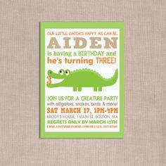 alligator crocodile critter birthday party by WickedCraftyDesigns, $12.00