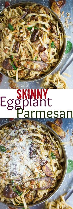Skinny Eggplant Parmesan Pasta. This is the PERFECT healthy twist on an eggplant Parmesan and a secret tip to roast eggplants into melt in your mouth sweet! Get the tip and recipe to make this ABSOLUTE eggplant Parmesan LOVE! Vegan and Gluten free! www.twopurplefigs.com