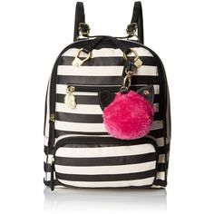 LUV BETSEY by Betsey Johnson Stripe Convertible Fashion Backpack ($62) ❤ liked on Polyvore featuring bags, backpacks, rucksack bag, convertible backpack, betsey johnson bags, black bag and black rucksack