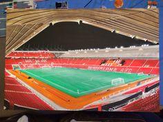 "Safc stadium of light acrylic on canvas 20""x30"""
