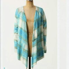 Anthropologie Plaid Cardigan Cotton/rayon blend drapey cardigan by Sparrow. It has three overlapping panels in the back and an open front. There's one section where the stitching looks weird that was there when I bought it. Gently worn. Jackets & Coats