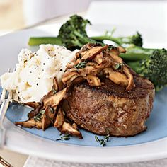 The steaks are sautéed in cooking spray to create a crust, while the mushrooms are sauteed in butter for flavor. Since the mushrooms release liquid as they cook, the butter is less likely to burn. Shiitake mushrooms create a sublime sauce with deep, earthy flavor, but you can substitute any other mushroom variety. Serve with mashed potatoes and Broccolini.
