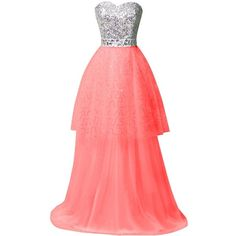 ORIENT BRIDE Sweetheart A-Line Sequins Floor-Leng Prom Gown Evening... ($220) ❤ liked on Polyvore