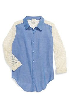 Ella Moss 'Taylor' Embroidered Mesh & Chambray Shirt (Big Girls) available at #Nordstrom