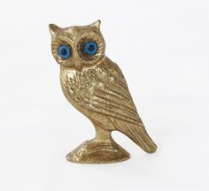 Owl bronze sculpture with blue eyes table bronze art small greek bronze statue - ancient greek statues