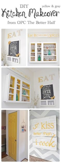 Paint the inside of the cabinets a bright color. Take doors off or take the inside out of the doors and do chicken wire stuff (that's a little country though)