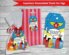 Superhero Thank You Tags, Personalized, Girl Super Hero, Thank You Note, Labels, Custom, Digital, Printable, Birthday Party, Stickers by RainbowLaneDesigns on Etsy
