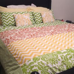 diy duvet cover and dec pillows! Hrubec Hrubec Landry -- I thought of you when I saw this -- no the colors, but the idea and the chevrons :)