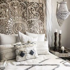 71 Large Wall Art King Size Bed Sculpture Bohemian Headboard Decorative Flower Mandala Wooden Hand Craved Teak Wood Panel White For Sale Large Thai Wall Art King Size Bed Sculpture Bohemian Headboard Decorative Flower Mandala Wooden Bohemian Headboard, Bohemian Bedroom Decor, Moroccan Bedroom Decor, Headboard Decor, Boho Bedding, Home Bedroom, Bedroom Wall, Bedroom Ideas, Bedroom Designs