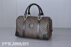 Authentic CELINE Black Macadam PVC / Black Leather Hand Bag
