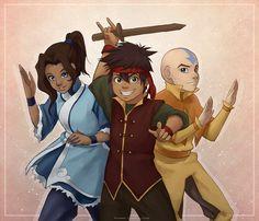 Kya, Bumi and Tenzin pretending to be team avatar.   Lin plays the Melon Lord muwahahahaha
