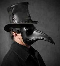 Plague Doctor mask in black leather Schnabel от TomBanwell на Etsy