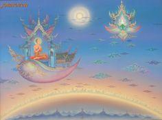 """Heaven Vehicle To Buddhist Land "" - 900x1200 acrylic painting by Chalermchai Kositpipat (1987)"