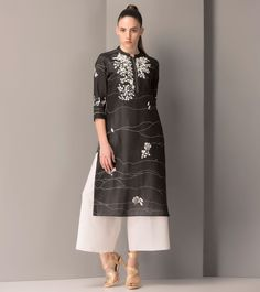 #Black Linen #Embroidered #Tunic by #AM:PM at #Indianroots
