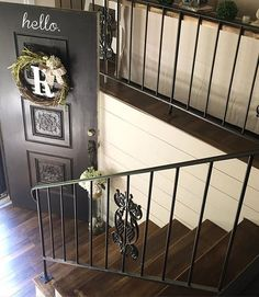 I'm sharing another angle of our split foyer entry. I am aware that our hardware doesn't match but for some reason the hardware was glued to this gorgeous door when we bought the house and I haven't gotten brave enough to tape it off and try to spray...