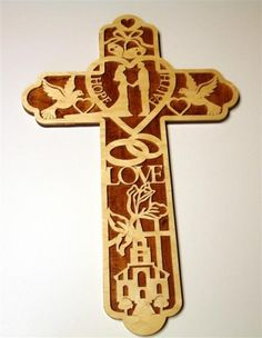 Unique Wedding Cross Plaque Handcrafted from Baltic Birch Wood   KevsKrafts - Woodworking on ArtFire
