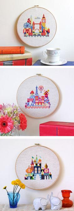 Modern cross stitch city patterns via Satsuma Street on etsy. They look like the Small World ride at Disney!