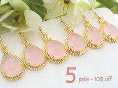 Set of 5 10% Off Bridesmaid Gift, Pink Wedding Jewelry Set, Bridal Earrings, Drop Earrings, Maid of Honor Gift for Bridesmaids Earrings