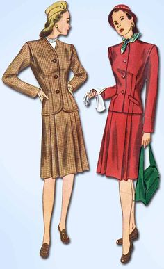 1940s Vintage Simplicity Sewing Pattern 1446 WWII Misses Tailored Suit Sz 14 32B