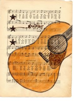 combination of pen and ink, watercolor & collage on vintage dutch sheet music
