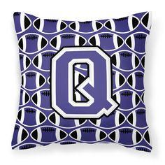 Letter Q Football Purple and White Fabric Decorative Pillow CJ1068-QPW1414